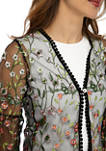 Womens One Button Mesh Floral Topper