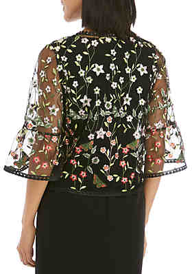 0b82221f2 Chris McLaughlin Allover Embroidery Bell Sleeve Topper Chris McLaughlin  Allover Embroidery Bell Sleeve Topper