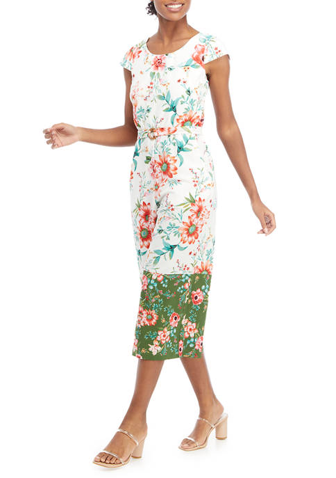 Womens Cap Sleeve Floral Border Cropped Jumpsuit