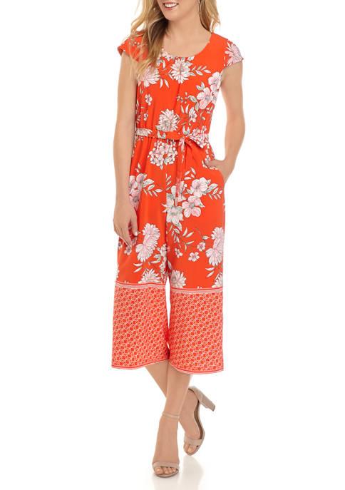 Chris McLaughlin Womens Belted Floral Print Crop Jumpsuit