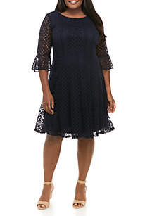 Chris McLaughlin Plus Size Crochet Bell Sleeve Fit and Flare Dress