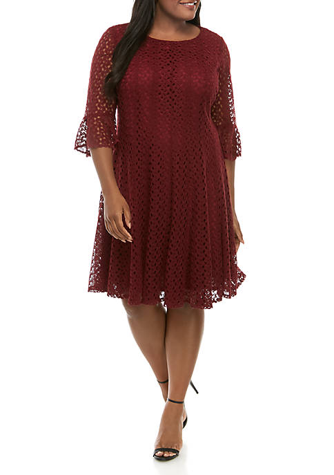 Plus Size Crochet Bell Sleeve Fit and Flare Dress