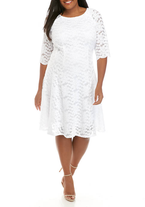 Plus Size Elbow Sleeve Floral Dress