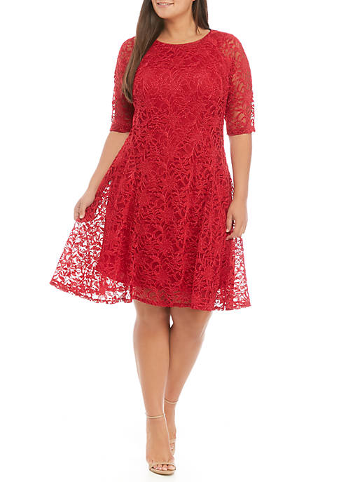 Chris McLaughlin Plus Size Short Sleeve Lace Dress