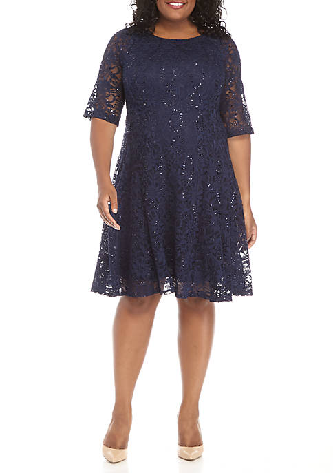 Chris McLaughlin Plus Size Sequin Lace Fit and