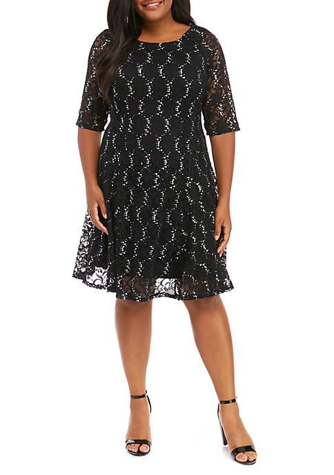 Chris McLaughlin Plus Size Sequin Lace Skater Dress