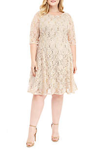 Chris McLaughlin Plus Size Sequin Lace Skater Dress