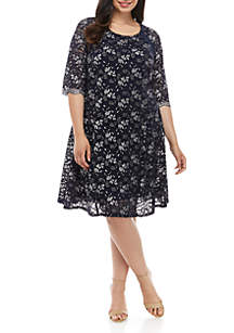 Chris McLaughlin Plus Size 3/4 Sleeve 2 Tone Lace Dress