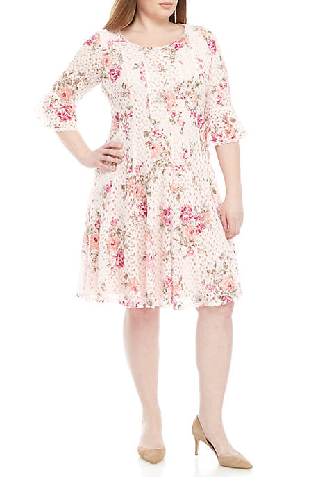 Chris McLaughlin Plus Size Fit and Flare Floral