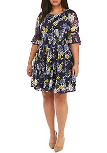 8f826ebdfecd3 ... Chris McLaughlin Plus Size Floral Crochet Fit and Flare Dress