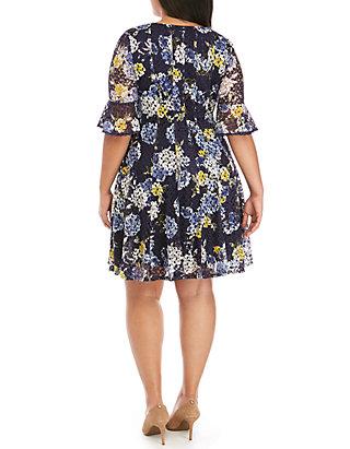 c993ed5b62 Chris McLaughlin. Chris McLaughlin Plus Size Floral Crochet Fit and Flare  Dress
