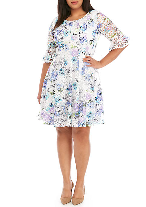 Plus Size Floral Crochet Fit and Flare Dress