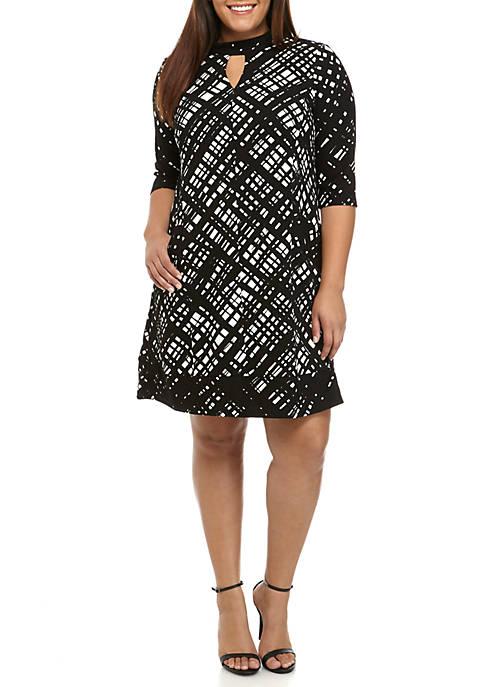 Chris Mclaughlin Plus Size Gigi V Neck Printed Swing Dress Belk