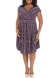 Plus Size Short Sleeve Faux Wrap Printed Dress