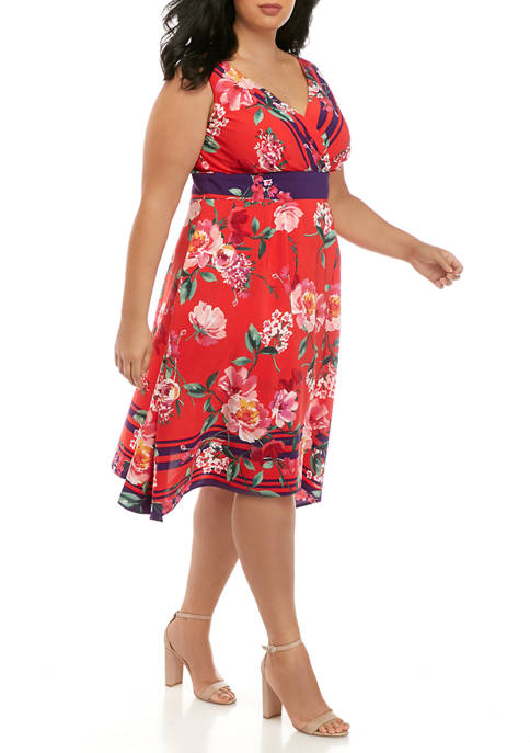Chris McLaughlin Plus Size Border Print Dress