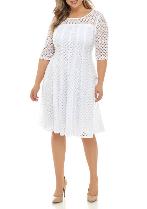 Chris McLaughlin Plus Size Zigzag Elbow Sleeve Dress