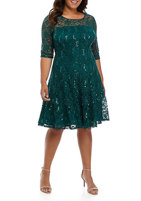 Chris McLaughlin Plus Size 3/4 Sleeve Sparkle Lace