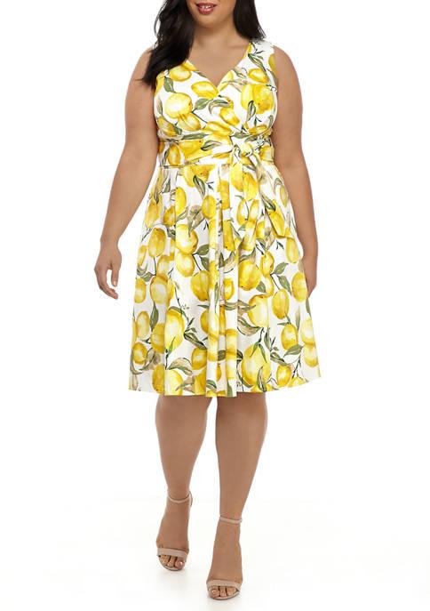 Chris McLaughlin Plus Size Lemon Tie Waist Dress