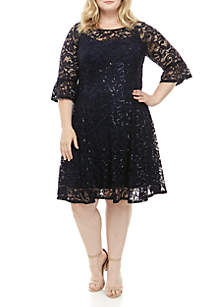 Chris McLaughlin Plus Size Bell Sleeve Short Lace Dress