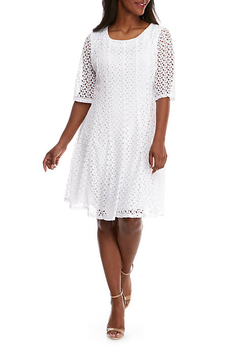 Chris McLaughlin Plus Size Solid Crochet Fit And