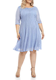 Chris McLaughlin Plus Size Solid Crochet Fit And Flare Dress