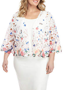 Plus Size Printed Lace Topper Jacket
