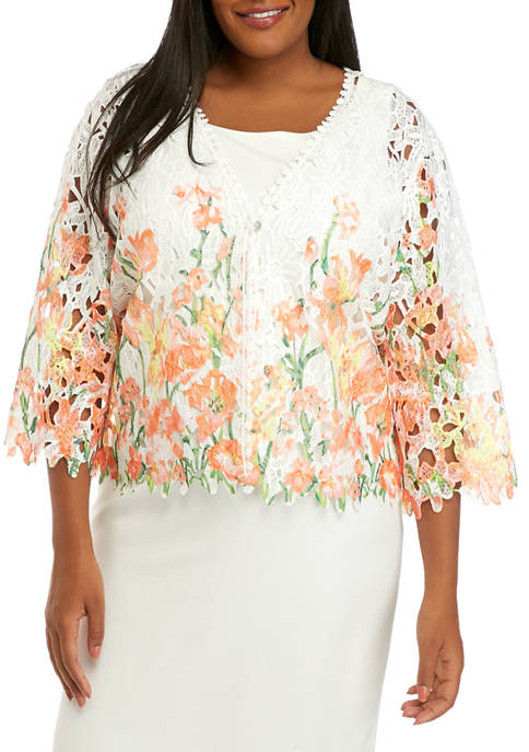 Plus Size Floral One Button Topper