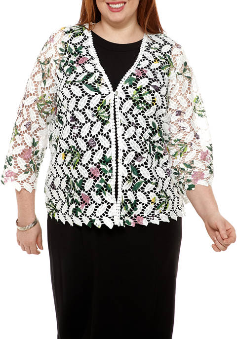 Chris McLaughlin Plus Size Floral One Button Crocheted