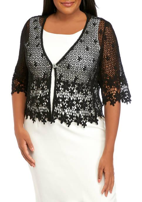 Chris McLaughlin Plus Size Floral Crochet Topper