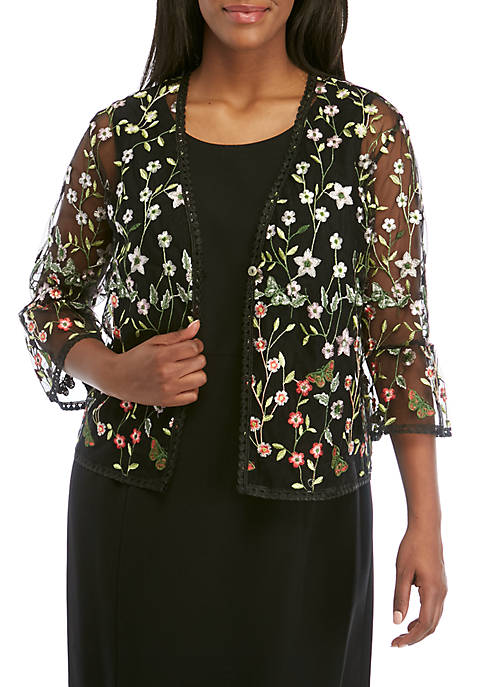 Plus Size 3/4 Sleeve Allover Embroidered Mesh Jacket