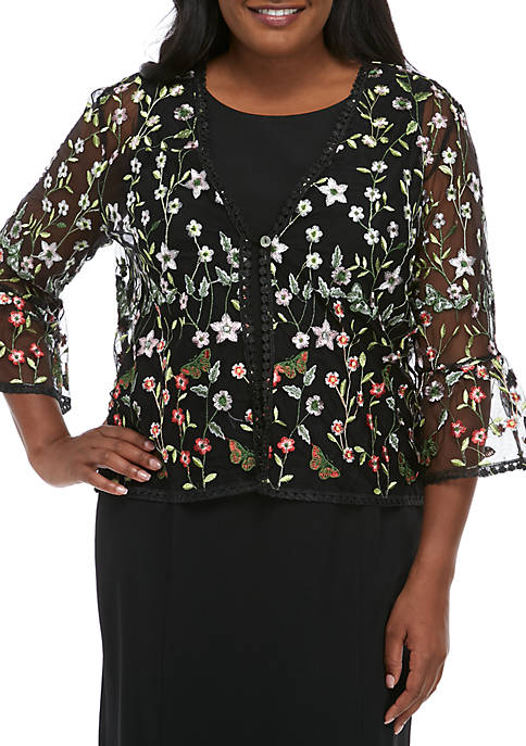 Chris McLaughlin Plus Size Allover Embroidered Bell Sleeve