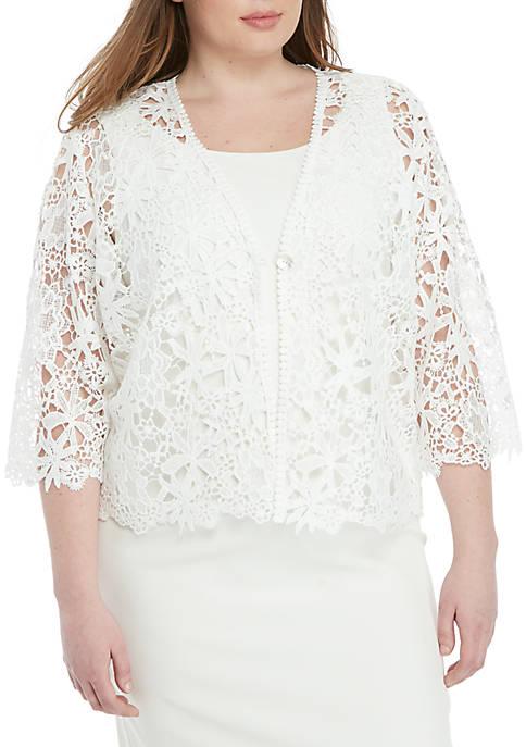 Plus Size Floral Crochet Topper Jacket