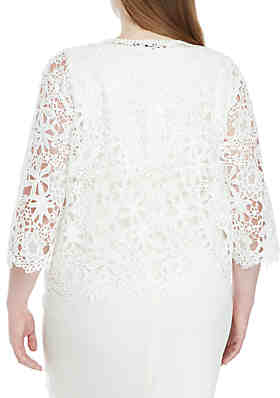 0172745e603 ... Chris McLaughlin Plus Size Floral Crochet Topper Jacket