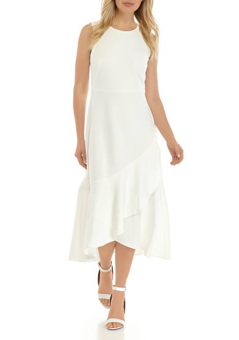 Calvin Klein Womens Sleeveless Asymmetrical Hem Scuba Midi