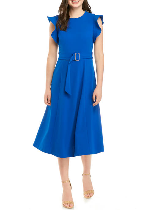 Calvin Klein Womens Ruffle Sleeve Belted Scuba Crepe