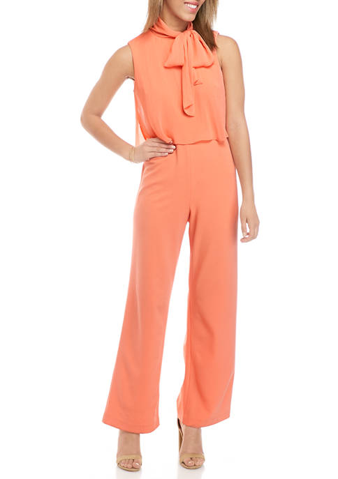 Calvin Klein Womens Sleeveless Tie Neck Scuba Jumpsuit