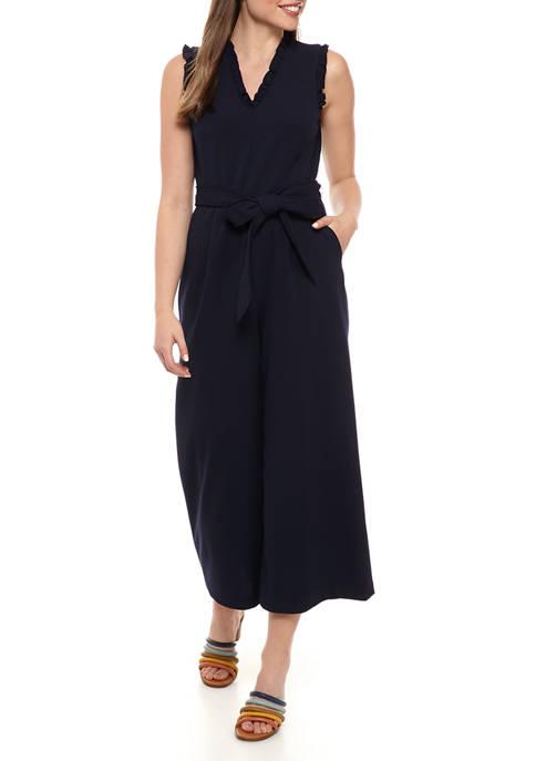 Womens Sleeveless Ruffle Cropped Jumpsuit