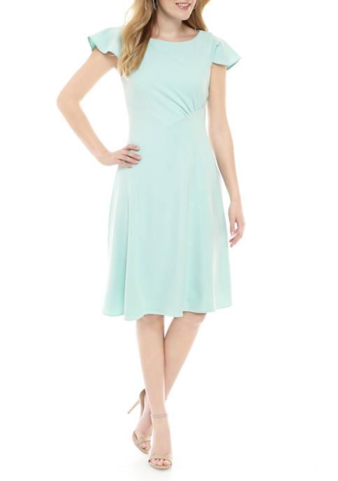 Flutter Sleeve Side Ruched Dress