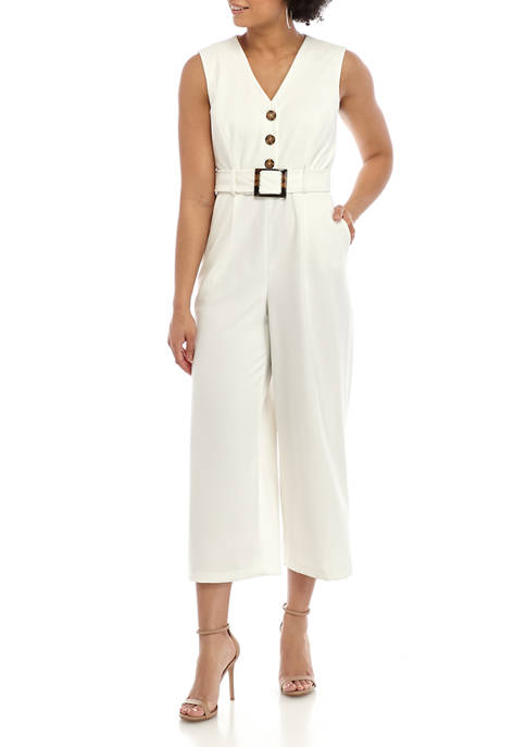 Calvin Klein Womens Button Front Scuba Crepe Jumpsuit