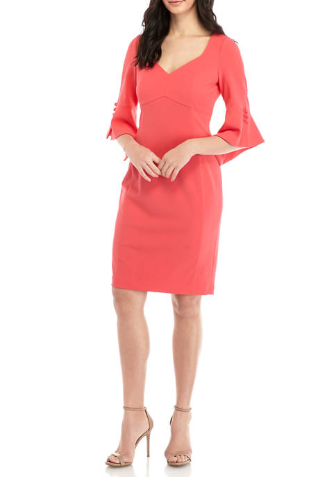 Bell Sleeve V-Neck Scuba Dress