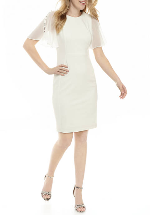 Calvin Klein Womens Scuba Crepe Chiffon Sleeve Dress
