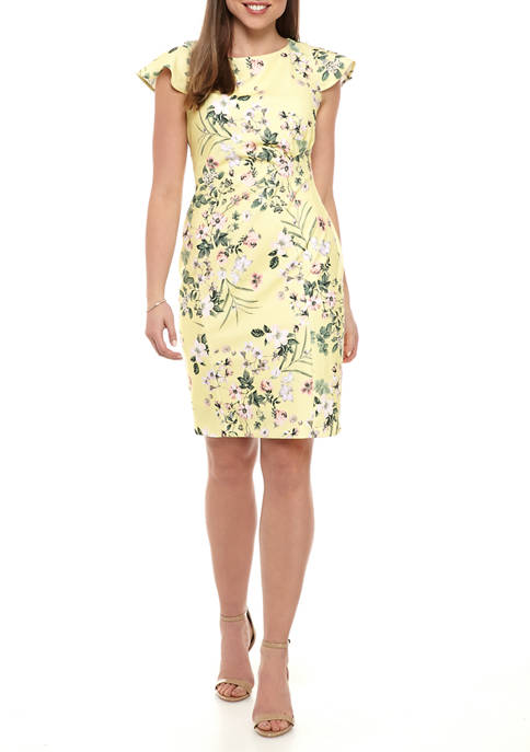 Calvin Klein Womens Scuba Shift Crepe Dress