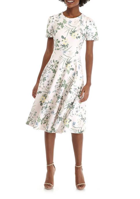 Calvin Klein Womens Short Sleeve Printed Scuba A-Line