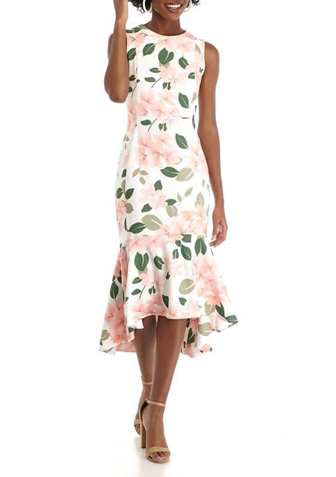 Womens Sleeveless Flounce Hem Scuba Crepe Midi Dress