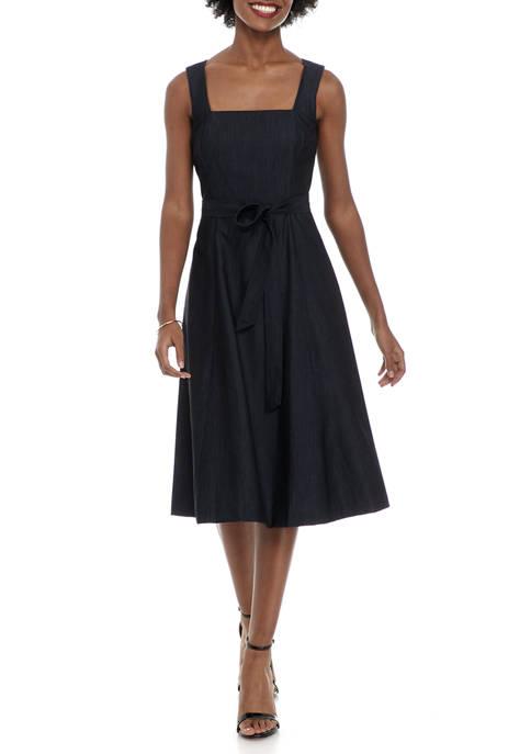 Calvin Klein Sleeveless Tie Belt Denim Dress