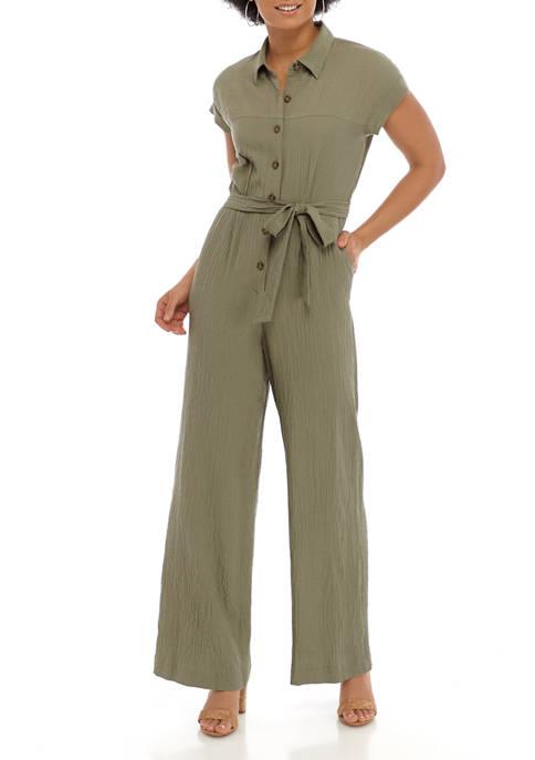 Calvin Klein Womens Short Sleeve Rayon Gauze Jumpsuit