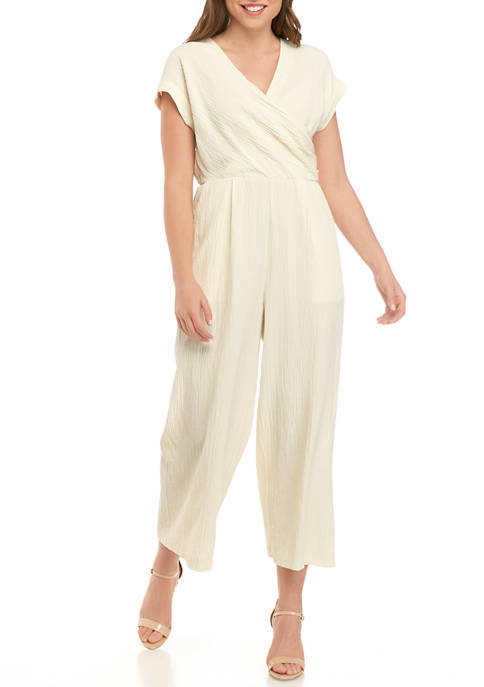 Calvin Klein Womens Short Sleeve Gauze Cropped Jumpsuit