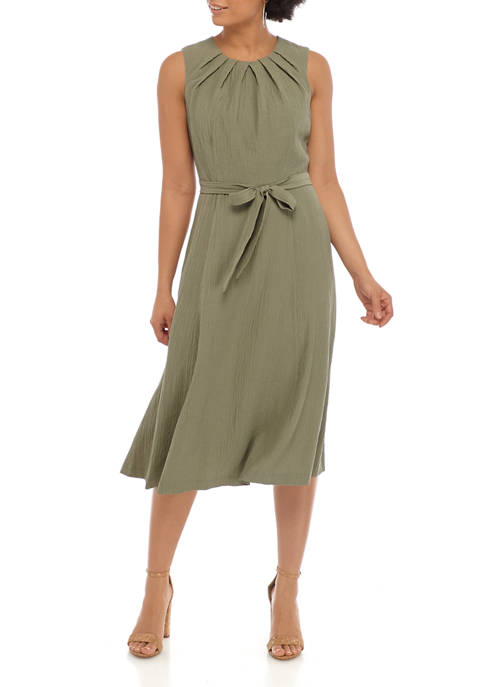 Calvin Klein Womens Sleeveless Pleat Neck Gauze Dress
