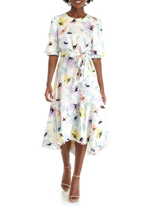 Calvin Klein Womens Puff Sleeve Floral Midi Dress