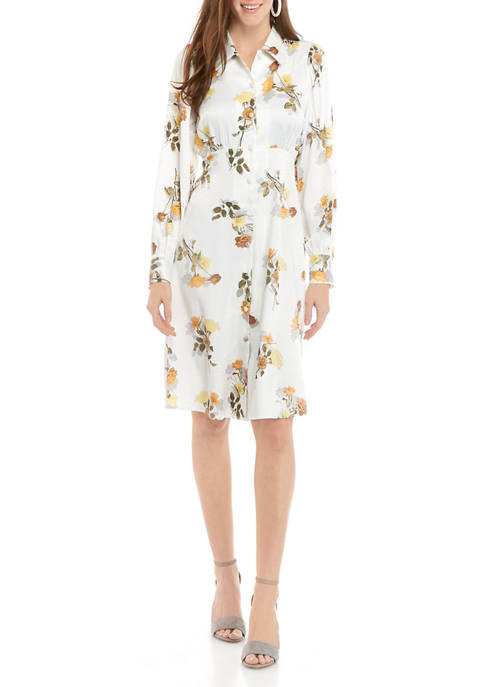 Calvin Klein Womens Jacquard Print Shirt Dress